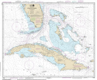 Straits of Florida and Approaches - Cuba 2014 Old Map Nautical Chart 1:1,200,000 sc Reprint 1002