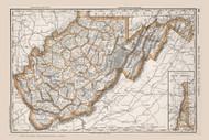 WestVirginia 1888 Rand McNally - Old State Map Reprint