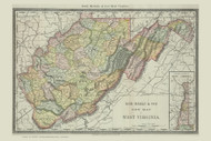 WestVirginia 1890 Rand McNally - Old State Map Reprint