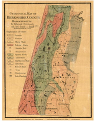 Berkshire County -  - Geological map by Edward Hitchcock County Massachusetts 1858 - Old Map Reprint - County Other