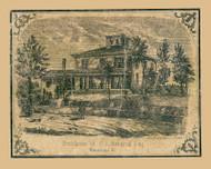 CL Harding Residence - Winooski, Vermont 1857 Old Town Map Custom Print - Chittenden Co.