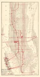 New York City 1910 - Manhattan Rapid Transit Map - Subway  - Old Map Reprint