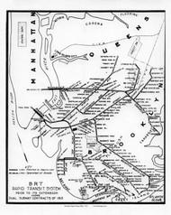 New York City 1912 - Brooklyn Rapid Transit Map - Subway  - Old Map Reprint