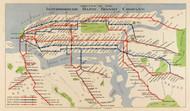 New York City 1924 - Interborough Rapid Transit System - Subway  - Old Map Reprint