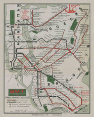 New York City 1939 - BMT World's Fair  (Map Only)- Subway  - Old Map Reprint