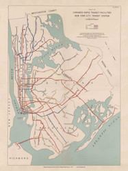 New York City 1939 - Planned Extension for NYC Rapid Transit System - Subway  - Old Map Reprint