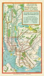 New York City 1939 - Seamen's Bank For Savings - Subway  - Old Map Reprint