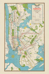 New York City 1940 - Hagstrom's Map of New York Subways Elevated Lines  - Old Map Reprint