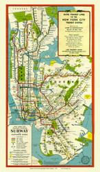 New York City 1948 - New York City Rapid Transit - Subway  - Old Map Reprint