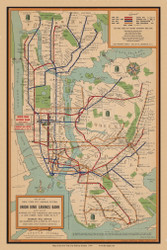 New York City 1831 - NYC Subway System - Union Dime Savings Bank   - Old Map Reprint