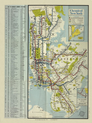 New York City 1964 - Chemical Bank of New York - Rapid  Transit Map - Subway  - Old Map Reprint