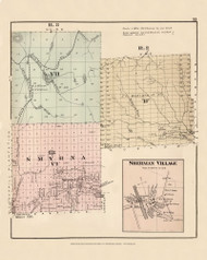 Smyrna R3 VII R2 B Sherman Village, Maine 1877 Old Town Map Reprint - Aroostook Co. 35