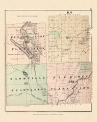 Portage Lake Nashville Sheriden Plantation R6 X!, Maine 1877 Old Town Map Reprint - Aroostook Co. 71