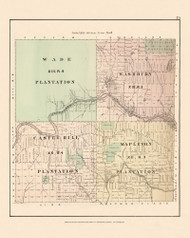 Wade Castle Hill Mapleton Plantation Washburn, Maine 1877 Old Town Map Reprint - Aroostook Co. 73