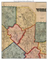 Ashburnham, Gardner & Westminster, Massachusetts 1857 Old Town Map Custom Print - Worcester Co.