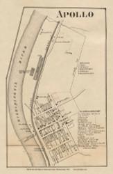 Apollo Village, Kiskiminetis Pennsylvania 1861 Old Town Map Custom Print - Armstrong Co.