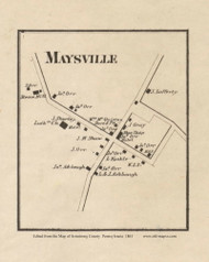 Maysville Village, Kiskiminetis Pennsylvania 1861 Old Town Map Custom Print - Armstrong Co.