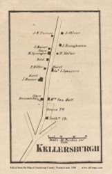 Kellersburgh Village, Madison Pennsylvania 1861 Old Town Map Custom Print - Armstrong Co.
