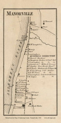 Manorville Village, Manor Pennsylvania 1861 Old Town Map Custom Print - Armstrong Co.