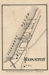 Rosston Village, Manor Pennsylvania 1861 Old Town Map Custom Print - Armstrong Co.