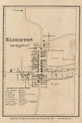 Elderton Village, Plum Creek Pennsylvania 1861 Old Town Map Custom Print - Armstrong Co.