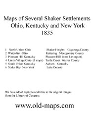 List of Towns 1835 Shaker Villages USA Regional - NOT FOR SALE