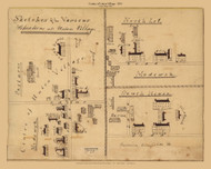 Union Village, Ohio - Centre of Union Village, North Lot & South House 1835 Old Map Reprint - Shaker Villages USA Regional