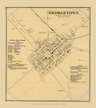 Georgetown Villages, Delaware State Atlas 1868 Old Town Map Reprint - Sussex Co.