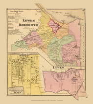 Lewes and Rehoboth Towns, Lewes Village, Delaware State Atlas 1868 Old Town Map Reprint - Sussex Co.