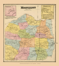 Mispillion Town, Vernon and Farminton Villages, Delaware State Atlas 1868 Old Town Map Reprint - Kent Co.
