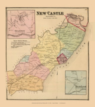 New Castle Town, Stanton and Red Lion Villages, Delaware State Atlas 1868 Old Town Map Reprint - New Castle Co.