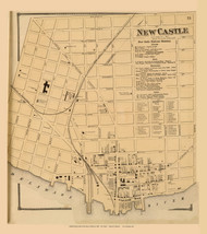 New Castle Village, Delaware State Atlas 1868 Old Town Map Reprint - New Castle Co.