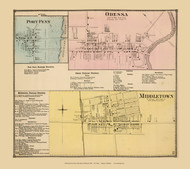 Odessa, Port Penn, and Middletown Villages, Delaware State Atlas 1868 Old Town Map Reprint - New Castle Co.