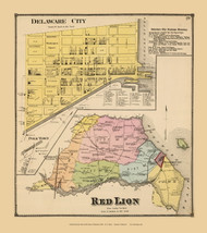 Red Lion Town and Delware City Village, Delaware State Atlas 1868 Old Town Map Reprint - New Castle Co.