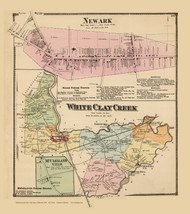 White Clay Creek Town, Newark and McClellandville Villages, Delaware State Atlas 1868 Old Town Map Reprint - New Castle Co.
