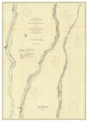 Hudson River - Poughkeepsie to Troy 1863 - Old Map Nautical Chart AC Harbors 372 - New York