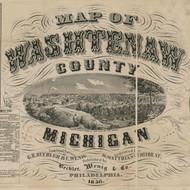 Map Cartouche, Wayne Co. Michigan 1856 Old Town Map Custom Print - Washtenaw Co.
