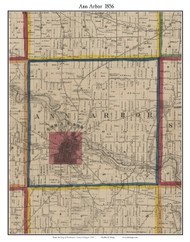 Ann Arbor, Michigan 1856 Old Town Map Custom Print - Washtenaw Co.
