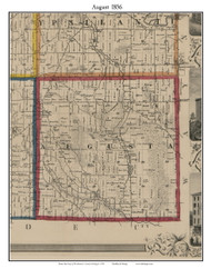 August, Michigan 1856 Old Town Map Custom Print - Washtenaw Co.