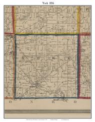 York, Michigan 1856 Old Town Map Custom Print - Washtenaw Co.