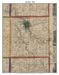 Ypsilanti, Michigan 1856 Old Town Map Custom Print - Washtenaw Co.