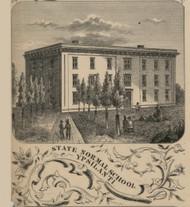 State Normal School, Ypsilanti, Michigan 1856 Old Town Map Custom Print - Washtenaw Co.
