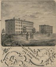 Michigan State University, Ann Arbor, Michigan 1856 Old Town Map Custom Print - Washtenaw Co.
