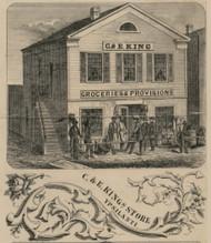 King Store, Ypsilanti, Michigan 1856 Old Town Map Custom Print - Washtenaw Co.