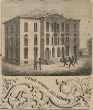 Union School, Ann Arbor, Michigan 1856 Old Town Map Custom Print - Washtenaw Co.