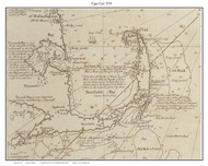 Cape Cod - Cape Only 1734 Southack - Old Map Custom Print