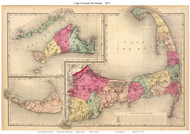 Cape Cod 1871 Gray - Old Map Reprint