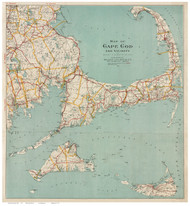 Cape Cod and the Islands 1917 Walker - Old Map Reprint