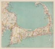 Cape Cod Only (No Title) 1917 Walker - Old Map Reprint