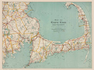 Cape Cod and Vicinity 1917 - Walker - Horizontal - Old Map Reprint